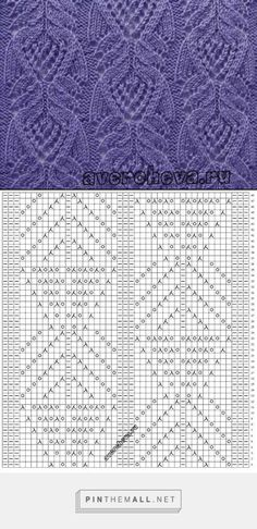 The world of knitting - Schemes, lessons, ideas. Lace Knitting Stitches, Lace Knitting Patterns, Cable Knitting, Knitting Charts, Lace Patterns, Easy Knitting, Stitch Patterns, Sock Knitting, Knitting Machine