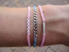 littlej mini macrame and sterling silver little bar bracelet in pink. $28.00, via Etsy.