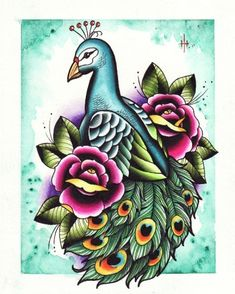 traditional style peacock and roses tattoo flash