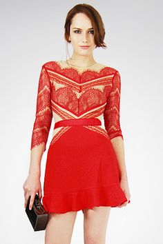Red Half Sleeves Falbala Hem Back Hollow-out Lace Dress Party Dresses Online, Lace Party Dresses, Lace Dress, Dress Up, Dress Online, Wedding Dresses, Pretty Dresses, Sexy Dresses, Fashion Dresses