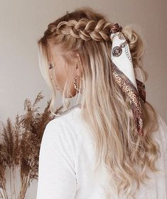 Flechtfrisuren - braided Hair - Haare ❀ Geflecht mit Schal ❀ - What is the full description of a thi Scarf Hairstyles, Pretty Hairstyles, Easy Hairstyles, Hairstyles 2018, Hairstyle Ideas, Wedding Hairstyles, Kids Hairstyle, Summer Hairstyles, Braided Ponytail Hairstyles