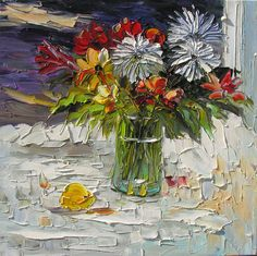ORIGINAL Oil Painting Sleepy Flowers 24 x 24 Colorful Flowers Blue Daisies Vase Bouquet Textured  Palette Knife by Marchella
