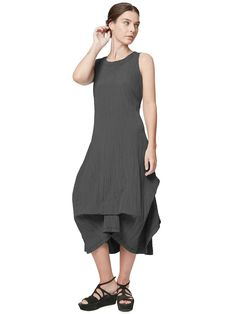 A sleeveless dress made of a crinkle and pleated fabric. Featuring a double-layered round neckline for a boxy fit and a bubble hem with a beautifully draped structure for added volume. Made in the U.S.A. Cleopatra Dress, Pleated Fabric, Crinkles, Dress Making, Ready To Wear, Boutique, Bubble, How To Wear, Neckline