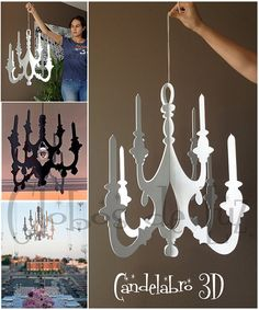 Wooden 3D Chandelier by GlobosDeLuz on Etsy, $34.00