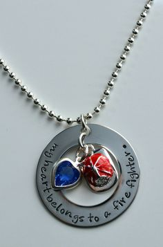 Fire Fighter's Wife Necklace  My heart by LauriginalDesigns, $30.00