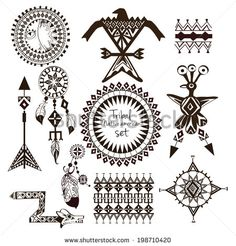 Buy Tribal Native American Set by macrovector on GraphicRiver. Tribal native american indian tribes ornamental black and white decorative elements set isolated vector illustration. Cherokee Indian Tattoos, Native American Tattoos, Native American Symbols, Native American Design, American Indians, American Indian Art, Native Symbols, Indian Symbols, Indian Tribes
