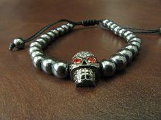 EXPRESS SHIPPING  Black Hematite  Dark Silver Skull Charm