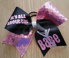 Check out this item in my Etsy shop https://www.etsy.com/listing/211725784/cheer-hair-bow-its-all-about-the-base