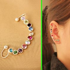 Rainbow Rhinestone Wrapping Ear Cuff (Single,Adjustable,No Piercing) | LilyFair Jewelry, $11.99!