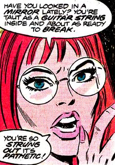 Barbara Gordon confronts Roy Harper, her peer and friend, over his substance abuse. She and Dick performed an intervention during Batgirl's time with the Teen Titans