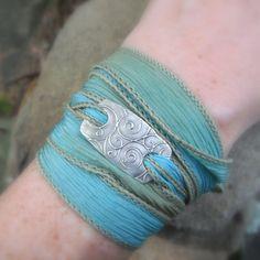 Silk Ribbon Bracelet- Silver & Silk Wrap Bracelet- Boho Wrap Bracelet- Spirals- Artisan Handcrafted with Recycled Silver and Hand Dyed Silk