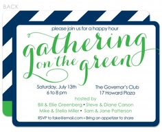 Gathering on the green invitation with golf theme with navy diagonal stripe