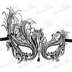 laser cut masquerade masks | ... SWAM Metal Laser Cut Venetian Mardi Gras Masquerade Mask w Diamonds