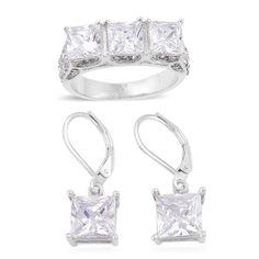 WHITE SIMULATED DIAMONDS AUSTRIAN CRYSTAL SQUARE RING & EARRING SET  6 LEVERBACK #L2D #FASHION