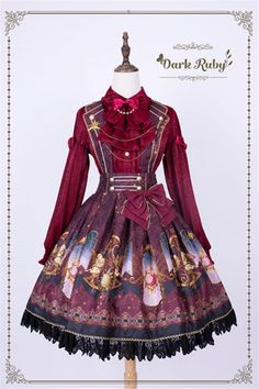 Dark Ruby -Astrology- Sweet Lolita Skirt with Collar Style Shoulder Straps,Lolita Dresses, Old Fashion Dresses, Fashion Outfits, Beautiful Outfits, Cool Outfits, Vintage Outfits, Vintage Fashion, Fashion Design Drawings, Fantasy Dress, Kawaii Clothes