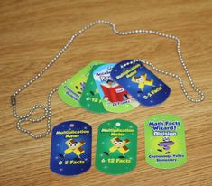 math brag tags-great for multiplication facts