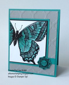 """Swallowtail by Lisa Walsh STAMPS: Swallowtail, Daydream Medallions, A Round Array PAPER: Bermuda Bay, Smoky Slate, Basic Black, Whisper White INK: Versamark, Bermuda Bay, Smoky Slate OTHER: Black EP, Modern Mosaic EF, Floral Frames Framelits, 1/2"""" circle punch, Aquapainter"""