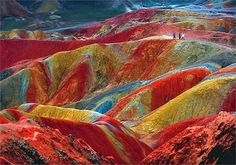 Danxia Landform in Zhangye, Province of Gansu located in China. The Danxia landform is a unique geological phenomenon. The color is the result of an accumulation for millions of years of red sandstone and other rocks. This is unbelievable and natural. All Nature, Amazing Nature, Science Nature, Beautiful Places In The World, Places Around The World, Amazing Places, Beautiful Hotels, Beautiful Scenery, Amazing Things