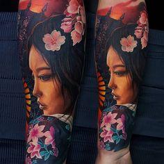 Geisha tattoo top 100 best sleeve tattoos for men: cool design ideas Geisha Tattoos, Geisha Tattoo Sleeve, Geisha Tattoo Design, Geisha Tattoo For Men, Irezumi Tattoos, Tattoos Skull, Cute Tattoos, New Tattoos, Tattoos For Guys