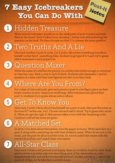 """""""7 Easy Icebreakers"""" - Handy for the beginning of the year. (Free)"""