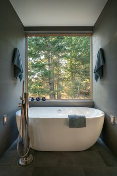 The shared wet room features a Boyce freestanding tub by Signature Hardware with west-facing views of the forest. #dwell #moderndesign #sanjuanislands #bathroomideas Home Decor Kitchen, Unique Home Decor, Home Decor Bedroom, Cheap Home Decor, Entryway Decor, Luxury Homes Interior, Home Interior, Interior Livingroom, Method Homes