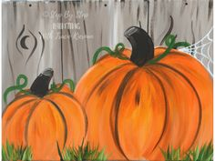 How To Paint Pumpkins On Canvas Acrylic painting tutorial step by step how to paint pumpkins on canvas for beginners. Pumpkin Canvas Painting, Halloween Canvas Paintings, Canvas Painting Designs, Simple Canvas Paintings, Canvas Painting Tutorials, Halloween Painting, Acrylic Painting Lessons, Autumn Painting, Happy Paintings