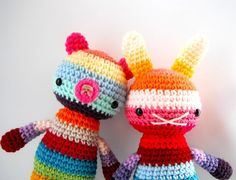 toy bear children amigurumi crochet doll rainbow big by rosieok, $30.00.
