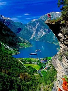 Hiking in Geiranger Fjord, Norway