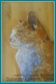 Toby stained glass mosaic cat portrait custom by PiecefulArts