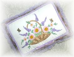 Pillow Hand Embroidered Decorative Basket of Flowers by Kittyandme, $38.00
