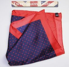Hand rolled silk pocket square navy red NEW £13.99