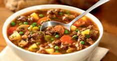 Goulash-Style Beef Hamburger Soup Recipe by Canadian Beef Soup Recipes, Cooking Recipes, Recipies, Beef Goulash, Hamburger Soup, Beef Sirloin, Stuffed Mushrooms, Stuffed Peppers, Chili