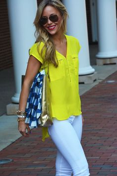White denim + bright yellow top. Perfect for summer!