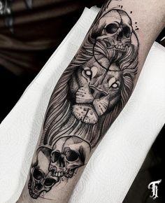 Skull Sleeve Tattoos, Best Sleeve Tattoos, Black Clover Anime, Tattoos Gallery, Lion Tattoo, Blackwork, Tatting, Piercing, Blog