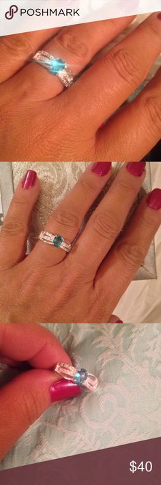 Brilliant Blue Zircon Ring BBB- baby blue is beautiful in this blue zircon ring with white topaz accents. Set in 925 Sterling Silver. NWOT never worn. Size 7.5 Helzburg  Jewelry Rings