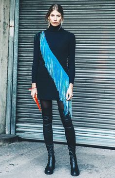 Search high and low for embellished pieces like Veronika Heilbrunner's diagonally fringed dress.