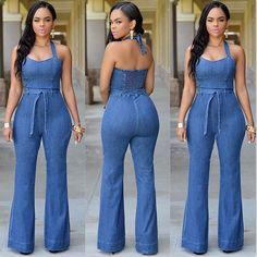 Fashion Women Sexy Blue Denim Casual Clubwear Jumpsuit Pant Romper Playsuit 2016