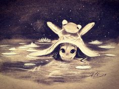 #frog #lilypod #nature #water #reflection #kurtchangart #art #charcoal #charcoaldrawing #sketch #cute #adorable #girl #swimming #night #lighting #blackandwhite #flower #artist #instaart #artistsoninstagram #animal