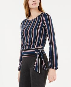 Best 12 Sashes Stripe O-Neck Lantern Sleeves Women's Blouses – SkillOfKing. Blouse Styles, Blouse Designs, Tie Waist Top, Jeans Dress, Dresses With Leggings, Blouses For Women, Fashion Dresses, Cute Outfits, Clothes
