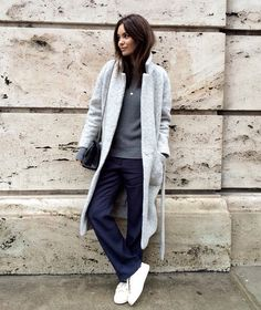 Wide leg trousers and sneakers