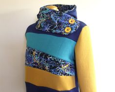 ABSTRACT - Hoodie Sweatshirt Sweater - Recycled Upcycled - One of a Kind Women - LARGE