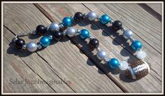 #NFL #Carolina #Panthers Inspired Chubby Bead Necklace by Solar Jazz Imaginables, $25.00