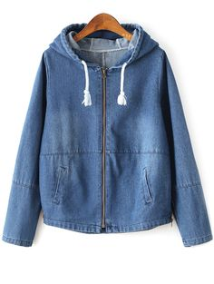 Zipped Hooded Denim Jacket