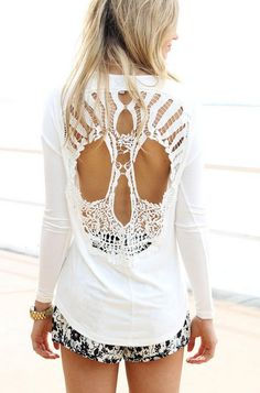 Cream Long Sleeve Tunic with Cutout Crochet Skull Back, Top, lace top skull long sleeve, Casual on Chiq  $38.00 http://www.chiq.com/cream-long-sleeve-tunic-cutout-crochet-skull-back-top-lace-top-skull-long-sleeve-casual
