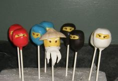 Ninjago Cake pops by SugarRock,  - my son has been driving me nuts to make these since he saw them online!!