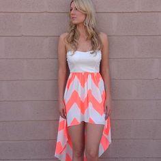♥summer dress♥ #chevron #neon  #hi_low