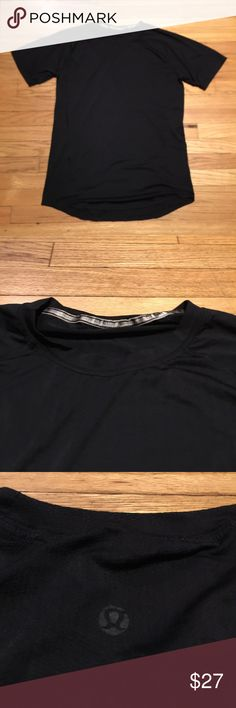 Lululemon black s/s workout shirt - Medium Lululemon black s/s workout shirt - Medium. Armpit to armpit - 19 inches. Length - 28 inches. Great condition lululemon athletica Shirts Tees - Short Sleeve