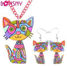 Bonsny Marca Declaración de Acrílico Gato Aretes Collar de Sistemas de La Joyería Collar de Gargantilla de Joyería de Moda 2016 de Noticias Para Las Mujeres Niña