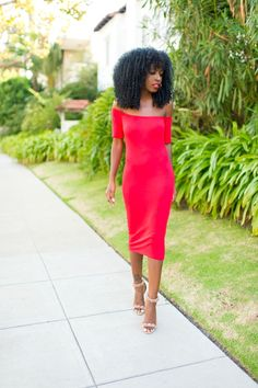 Off Shoulder Red Midi Dress Dress Outfits, Cute Outfits, Style Pantry, Red Midi Dress, Girl Blog, Daily Fashion, Style Icons, Dresses For Work, Street Style