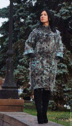 """Купить Пальто валяное""""Аквамариновый грезы"""" - разноцветный, аквамарин, Пальто ручной работы, авторская ручная работа"""